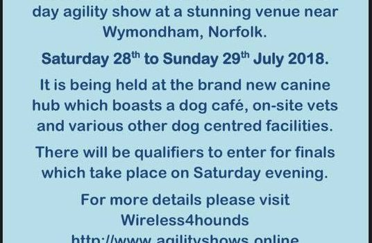 Wireless for Hounds Agility Show 28th – 29th July 2018